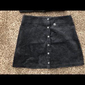 Navy blue button down skirt